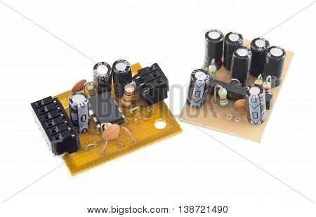 the Circuit board on a white background