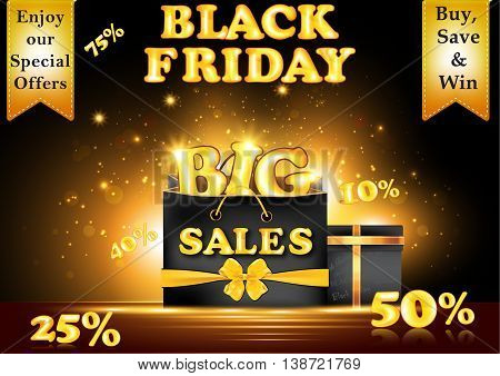 Black Friday Big Sales advertising poster. Advertising shopping poster for Black Friday. Contains different shopping bag, shopping tags (etiquette)