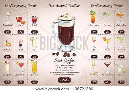 Back Drawing horisontal cocktail menu design on vintage background