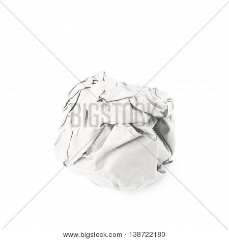 Crumbled paper ball isolated over the white background