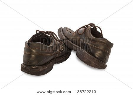 Old Shoes -  Still Life Pair Of Brown Leather Shoes Old And Dirty With Isolated On White Background,