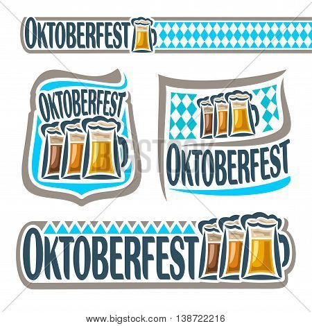Vector logo bavarian pattern flag oktoberfest with glass ale. Emblem Bavarian fest in Munich with alcohol drink. Banner Oktoberfest mug beer cup with porter. Header menu: foam pint beer, blue rhombus