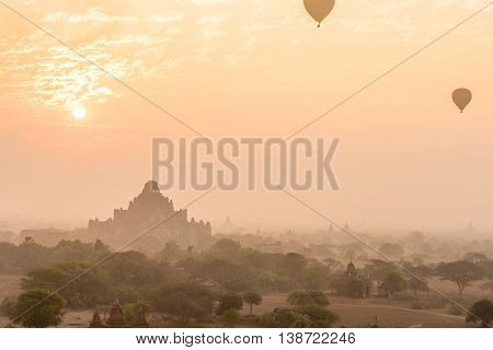 Dhammayangyi temple The biggest Temple in Bagan with hot air balloons and sunrise Myanmar