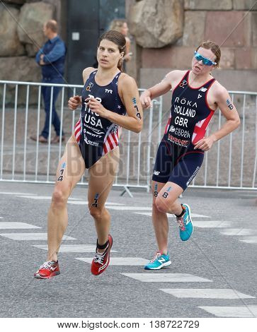 STOCKHOLM - JUL 02 2016: Triathlete Sarah True and Vicky Holland running in a curve in the Women's ITU World Triathlon series event July 02 2016 in Stockholm Sweden