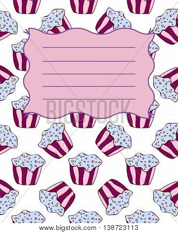 School notebook cover postcard invitation sample with hand drawn muffins