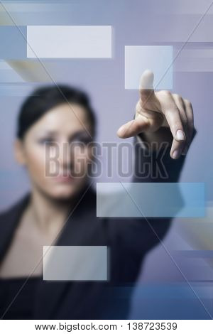 Business Woman Are Writing Graph On Blue Background