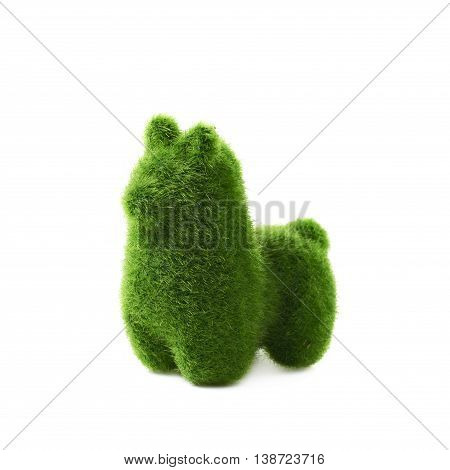Tiny llama toy statuette made of plastic green grass as a Easter day decoration isolated over the white background