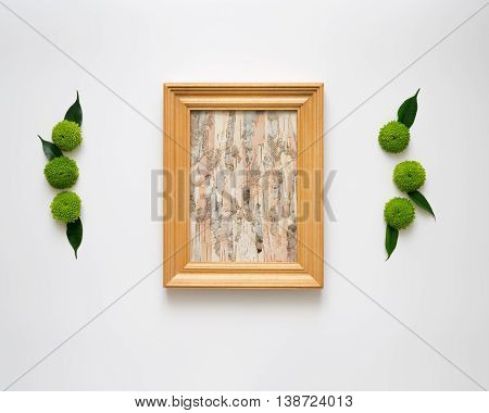 Wooden Frame With Collage Of Birch Bark.