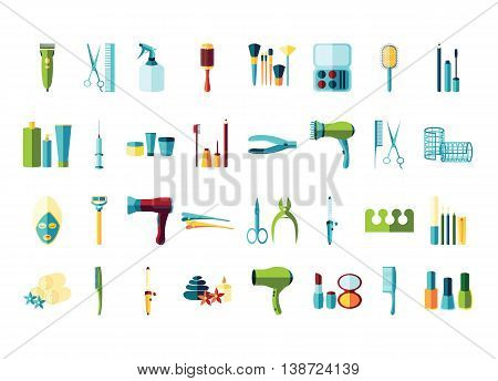 Vector beauty accessories flat icon set. Isolated on white background. Make up manicure pedicure skin care hairdressers.