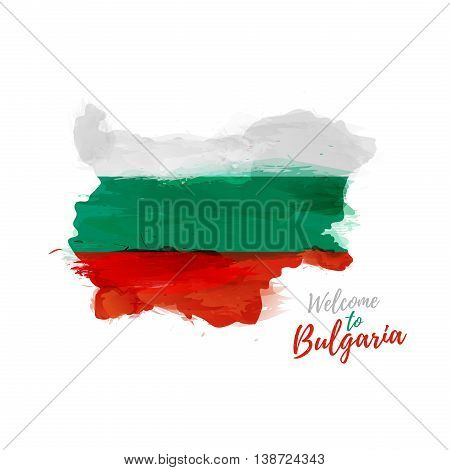 Symbol, poster, banner Bulgaria. Map of Bulgaria with the decoration of the national flag. Style watercolor drawing. Vector illustration