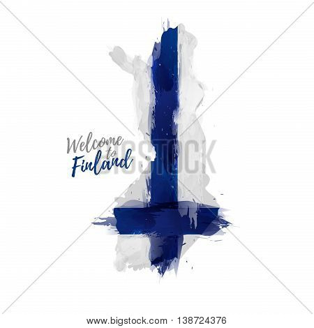 Symbol, poster, banner Finland. Map of Finland with the decoration of the national flag. The Finnish national flag in watercolor style drawing. Vector illustration