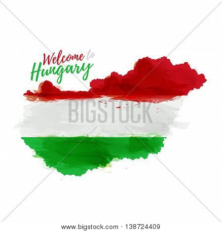 Symbol, poster, banner Hungary. Map of Hungary with the decoration of the national flag. Style watercolor drawing. Hungary map with national flag. Vector illustration