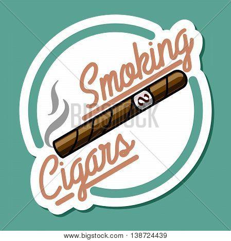 Color vintage smoking emblem, label, badge and design elements. Vector illustration, EPS 10