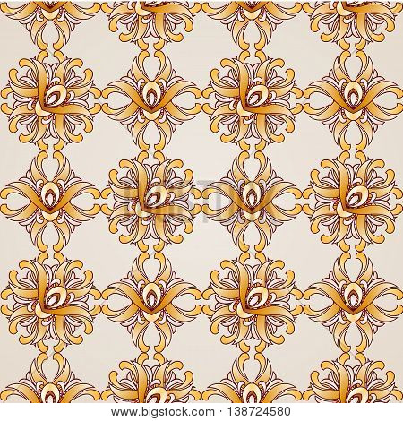 Saturated golden seamless abstract the floral pattern