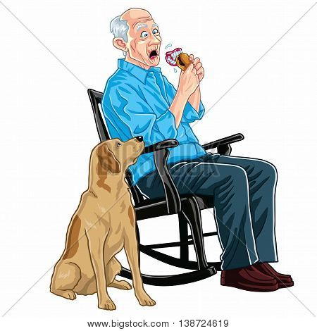 Old Man Sitting On A Rocking Chair Eating Burger With His Dog