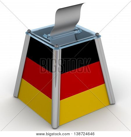 The ballot box with the flag of Germany. Ballot box to vote with the flag of Germany and ballot sheet is on the white surface. Isolated. 3D Illustration