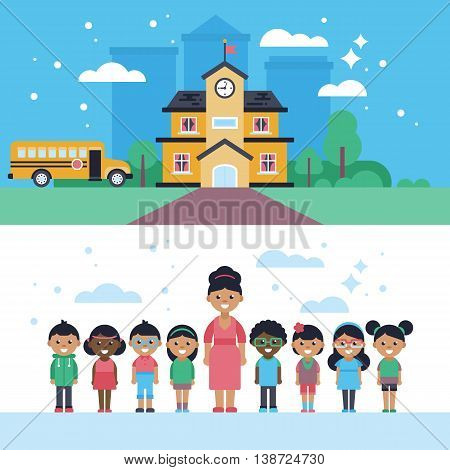 Back to school website banners with building, bus, character design of teacher and children