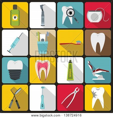Dental care icons set in flat style. Stomatology set collection vector illustration