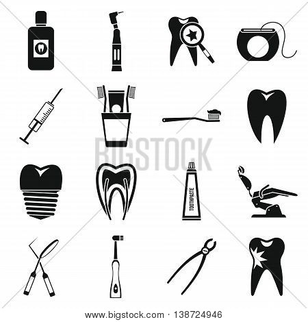 Dental care icons set in simple style. Stomatology set collection isolated vector illustration