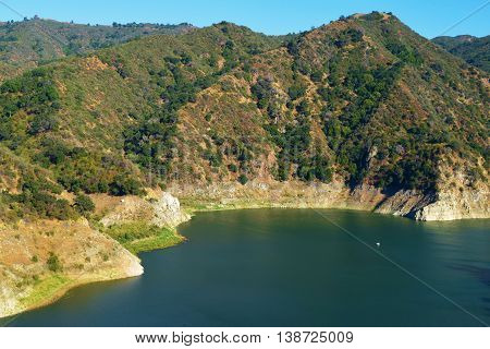 Low water levels caused by the California Drought taken at Morris Reservoir in the San Gabriel Mountains, CA