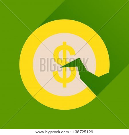 Flat icon with long  shadow dollar cent