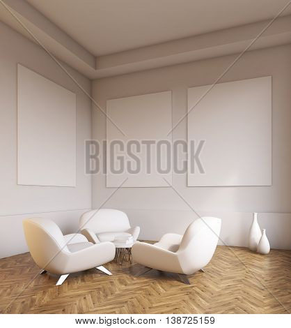 Room Interior With Sofas And Light Grey Walls