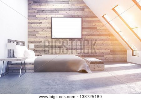 Comfortable Bedroom With Furniture And Poster