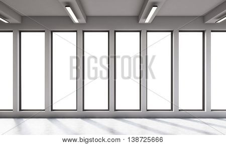 Large Empty Office Room With Panoramic Wndows