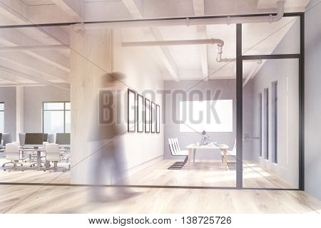 Blurry businessman walking in office and conference room interior with blank whiteboard behind glass doors. Mock up 3D Rendering