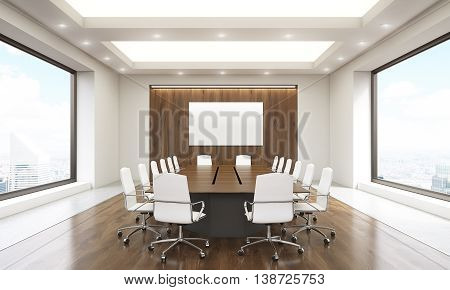 Conference Room Interior With Whiteboard