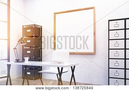 Up to date working place in modern office environment. Large poster on wall good furniture. 3D render. Mock up. Toned image