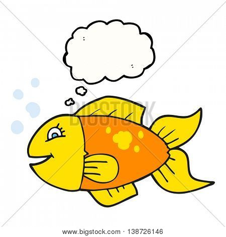 freehand drawn thought bubble cartoon fish