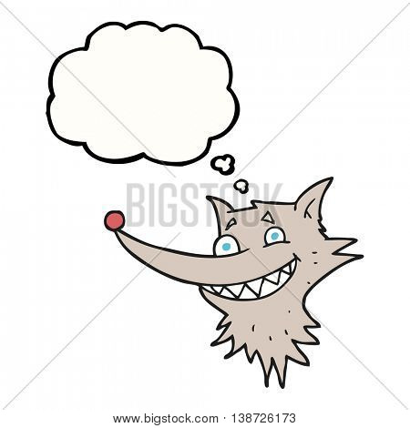 freehand drawn thought bubble cartoon grinning wolf face