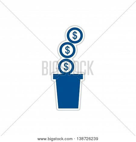 paper sticker on white  background pot of coins