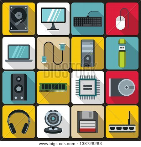 Computer icons set in flat style. PC set collection vector illustration