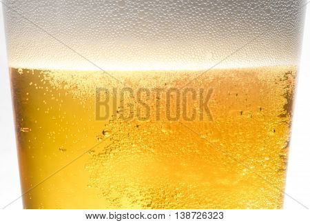 refreshing closeup of a golden ale glass