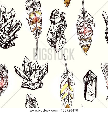 Beautiful hand drawn vector illustration sketching of crystals and feathers. Boho style seamless pattern. Use for postcards, print for t-shirts, posters, wedding invitation, tissue, linens