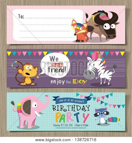 Collection of cute birthday cards with cute cartoon animals