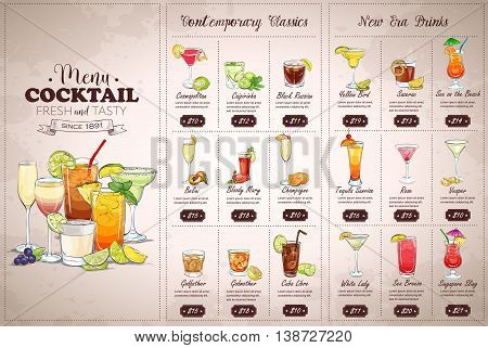 Front Drawing horisontal cocktail menu design on vintage background
