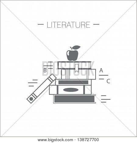 Literature icon. Stack of books with apple. Flat design minimalistic vector illustration isolated on white background.
