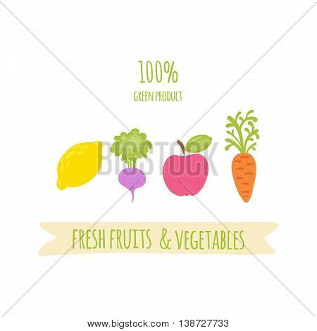 Green, organic product. Icon of lemon, radish, apple and carrot. Fresh fruit. Fresh vegetables and fruits collection. Healthy lifestyle or diet design. Vector illustration isolated on white background