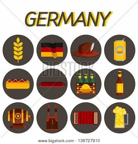 Germany flat icon set. Traveling Euope. Vector illustration, EPS 10