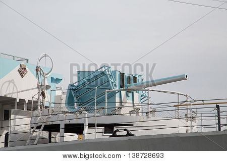 Cannon on an old Canadian war ship