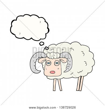 freehand drawn thought bubble cartoon ram