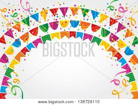 White background with many colorful flags and confetti on top