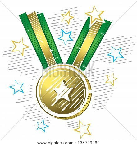 Colorful drawing of gold medal in sketch format with stars around