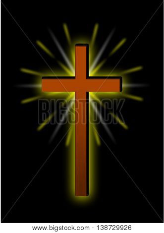 christian cross , brown cross on a black background