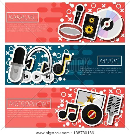 Karaoke horizontal banner set with singing party flat elements isolated vector illustration