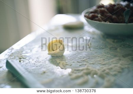 Cooking Homemade Ravioli On The Table, Floured