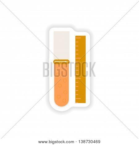paper sticker on white background  flask lab
